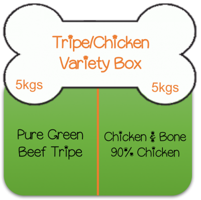 Green Beef Tripe / Chicken & Bone Mince 5kgs (11lbs) of each Variety Box  Working Dog