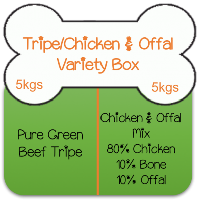 Green Beef Tripe 5kgs (11lbs) / Chicken & Offal Mix 5kgs (11lbs) Variety Box Working Dog