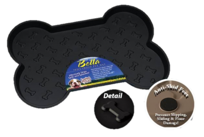 Bone-Shaped Spill-Proof Dog Mat - Black or Tan, Small or Large