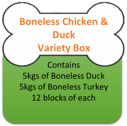 Boneless Chicken (5kgs)  & Duck (5kgs) Variety Box 10kgs for Working Dogs