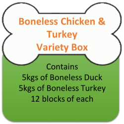 Boneless Chicken (5kgs)  & Turkey (5kgs) Variety Box 10kgs for Working Dogs