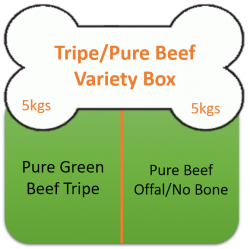 Green Beef Tripe /Pure Beef 10kgs (22lbs) Variety Box  Working Dog