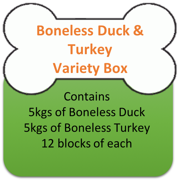 Boneless Duck (5kgs)  & Turkey (5kgs) Variety Box 10kgs for Working Dogs