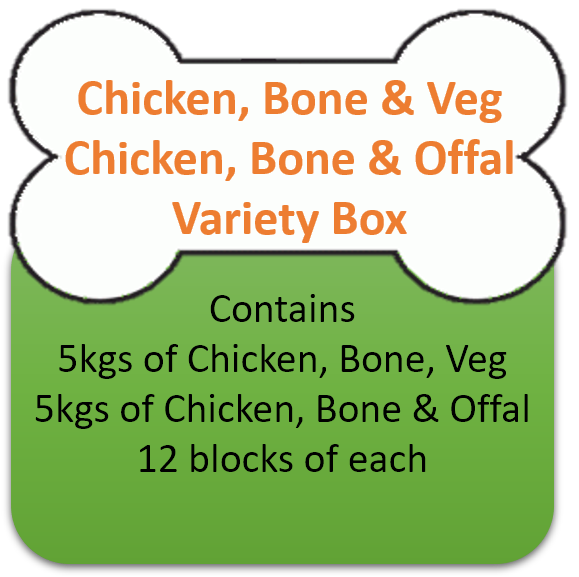 Chicken Mince & Veg (5kgs)  & Chicken, Bone & Offal (5kgs) Variety Box 10kgs for Working Dogs
