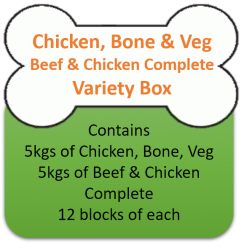 Beef & Chicken Complete (5kgs) Chicken Mince & Veg (5kgs) Variety Box 10kgs for Working Dogs