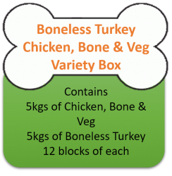 Boneless Turkey (5kgs)  & Chicken & Vegetables (5kgs) Variety Box 10kgs for Working Dogs