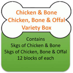 Chicken Mince & Bone (5kgs)  & Chicken, Bone & Offal (5kgs) Variety Box 10kgs for Working Dogs