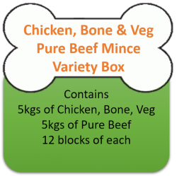 Pure Beef Mix (5kgs) Chicken Mince & Veg (5kgs) Variety Box 10kgs for Working Dogs